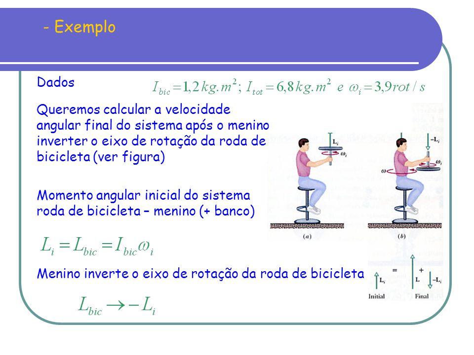 - Exemplo Dados. Queremos calcular a velocidade angular final do sistema após o menino inverter o eixo de rotação da roda de bicicleta (ver figura)