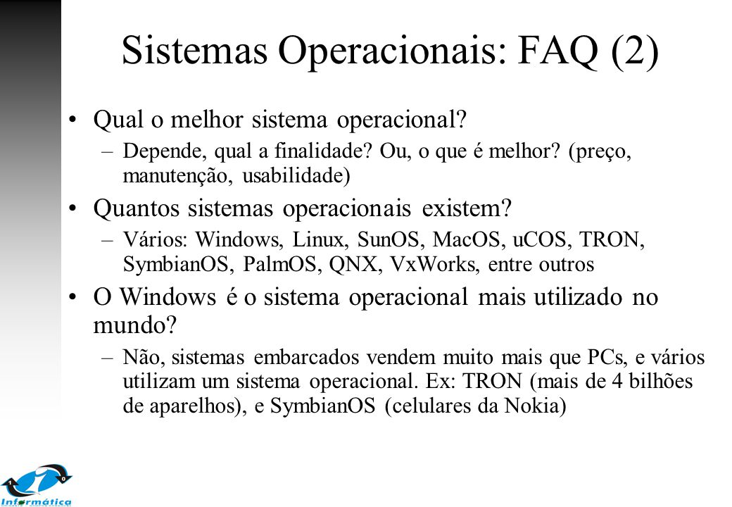 Sistemas Operacionais: FAQ (2)