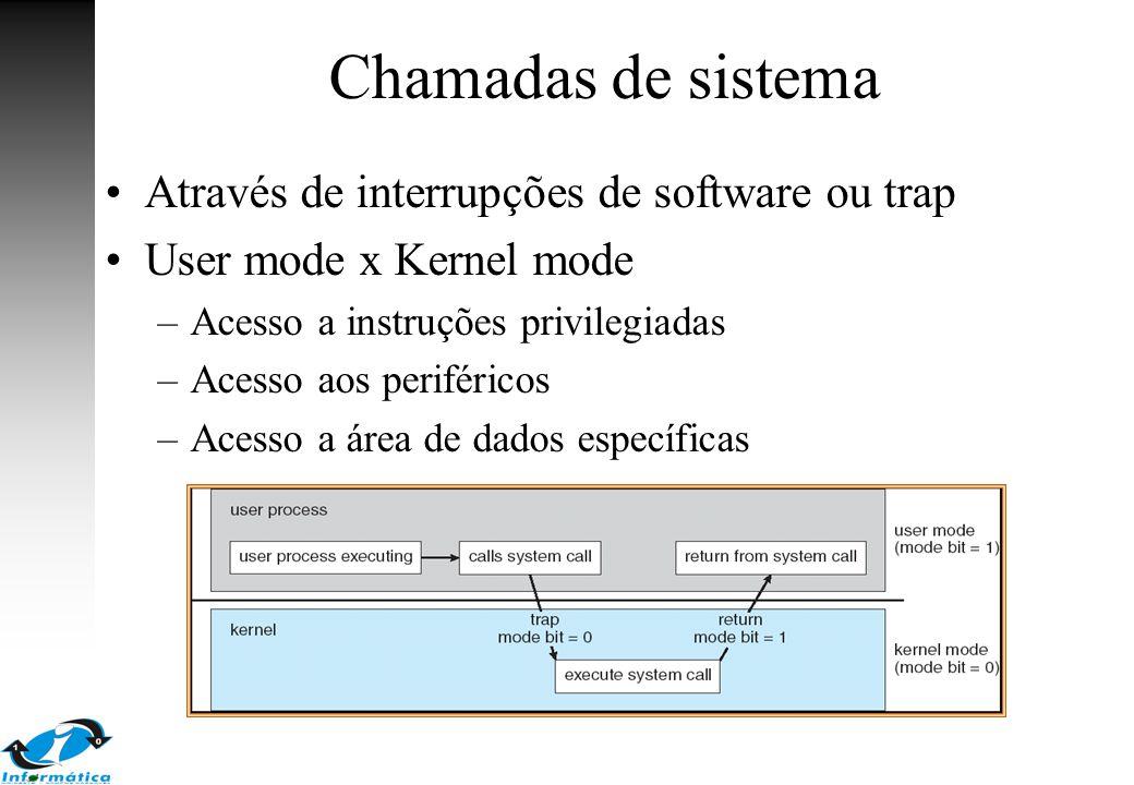Chamadas de sistema Através de interrupções de software ou trap