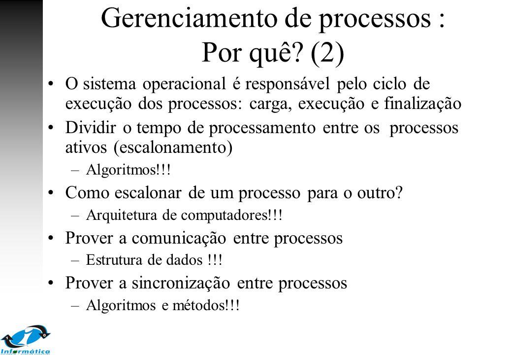 Gerenciamento de processos : Por quê (2)