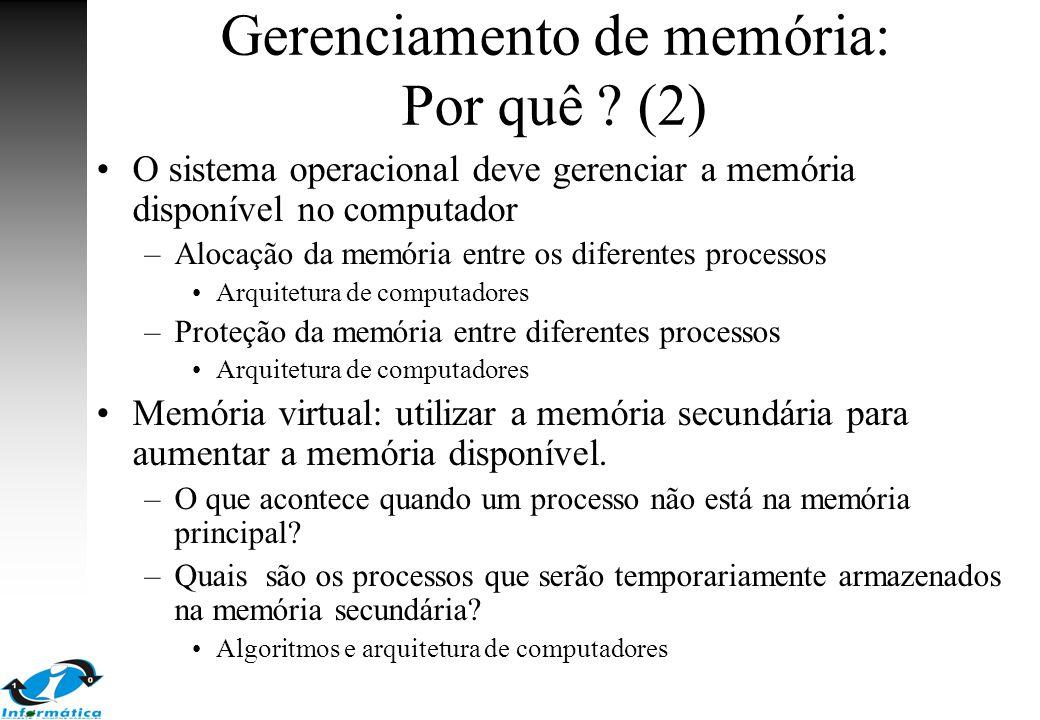 Gerenciamento de memória: Por quê (2)
