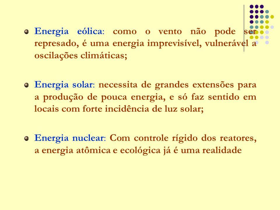 Energia eólica: como o vento não pode ser represado, é uma energia imprevisível, vulnerável a oscilações climáticas;