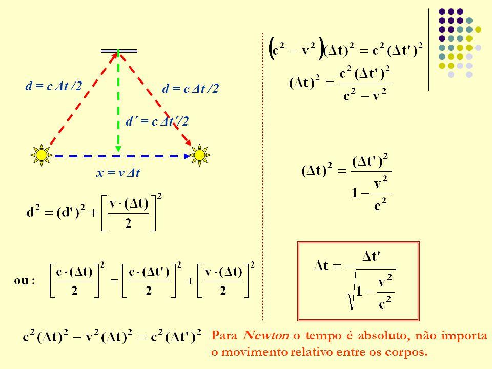 d = c Δt /2 d´ = c Δt´/2. x = v Δt.