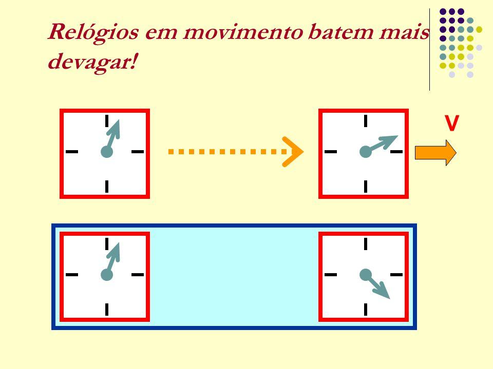 Relógios em movimento batem mais devagar!