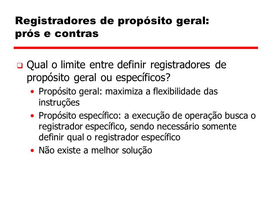 Registradores de propósito geral: prós e contras