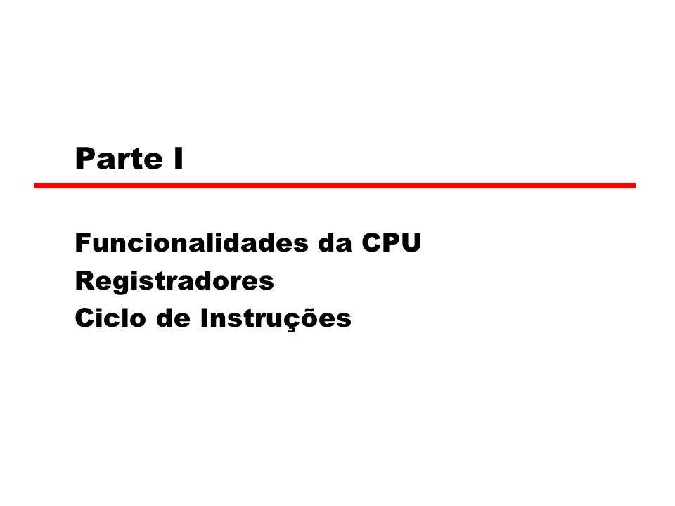 Funcionalidades da CPU Registradores Ciclo de Instruções