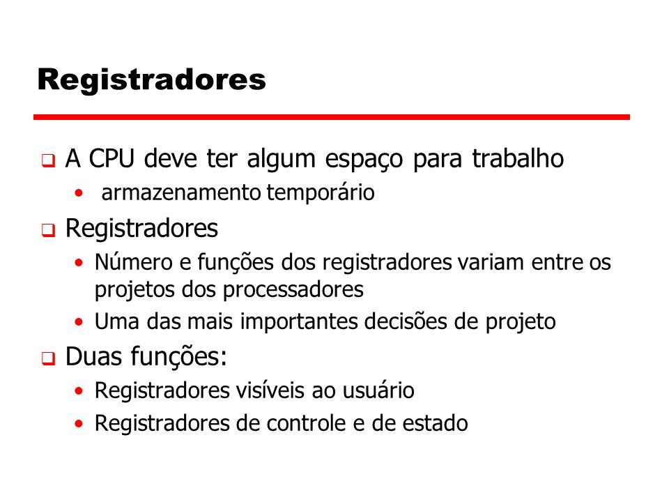 Registradores A CPU deve ter algum espaço para trabalho Registradores