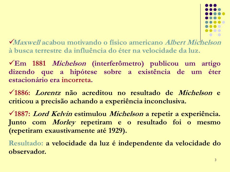 Maxwell acabou motivando o físico americano Albert Michelson à busca terrestre da influência do éter na velocidade da luz.