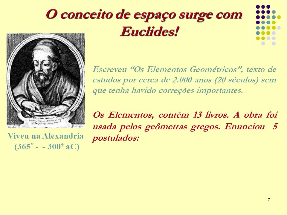 O conceito de espaço surge com Euclides!