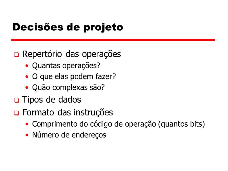 Decisões de projeto Repertório das operações Tipos de dados