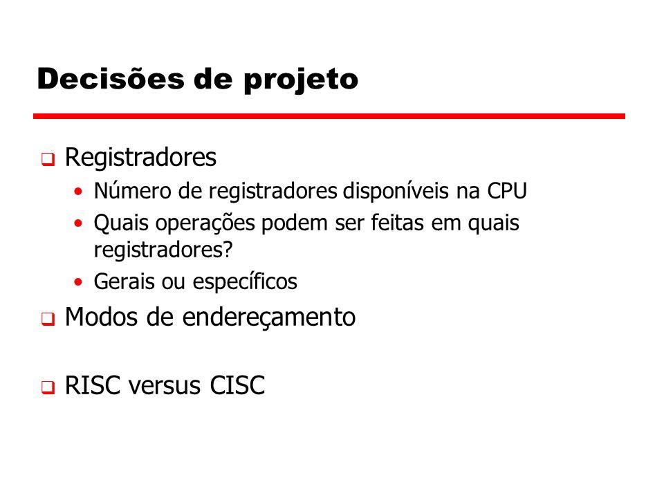 Decisões de projeto Registradores Modos de endereçamento