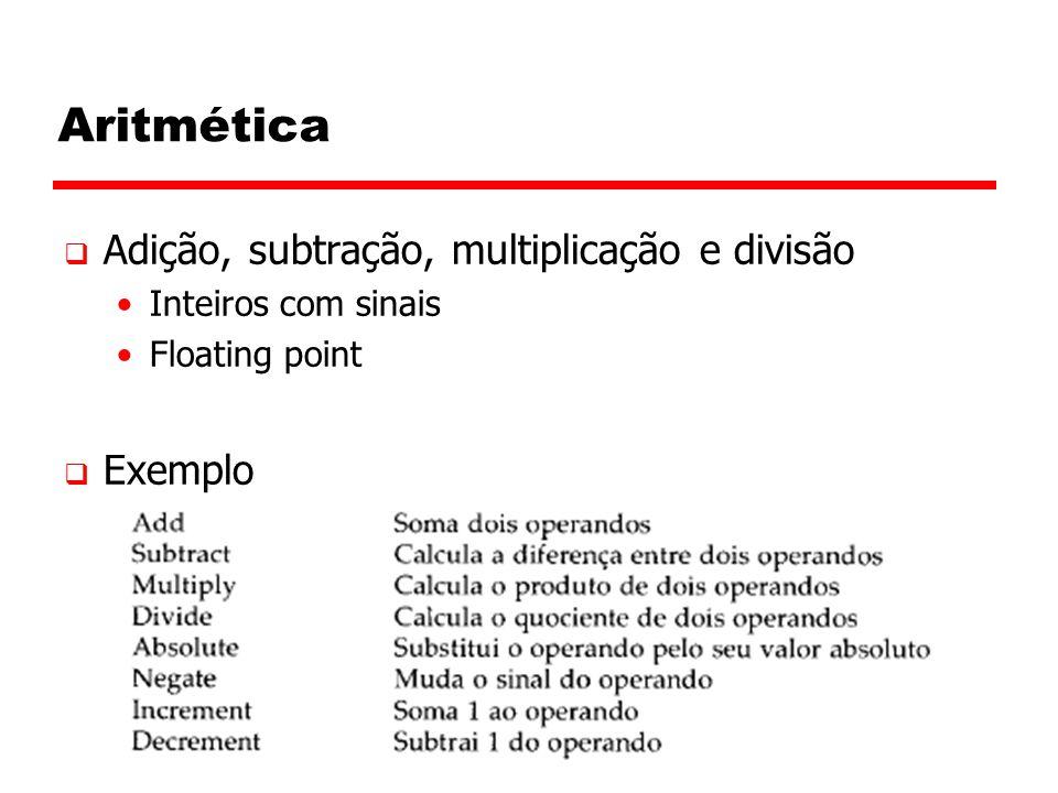 Aritmética Adição, subtração, multiplicação e divisão Exemplo