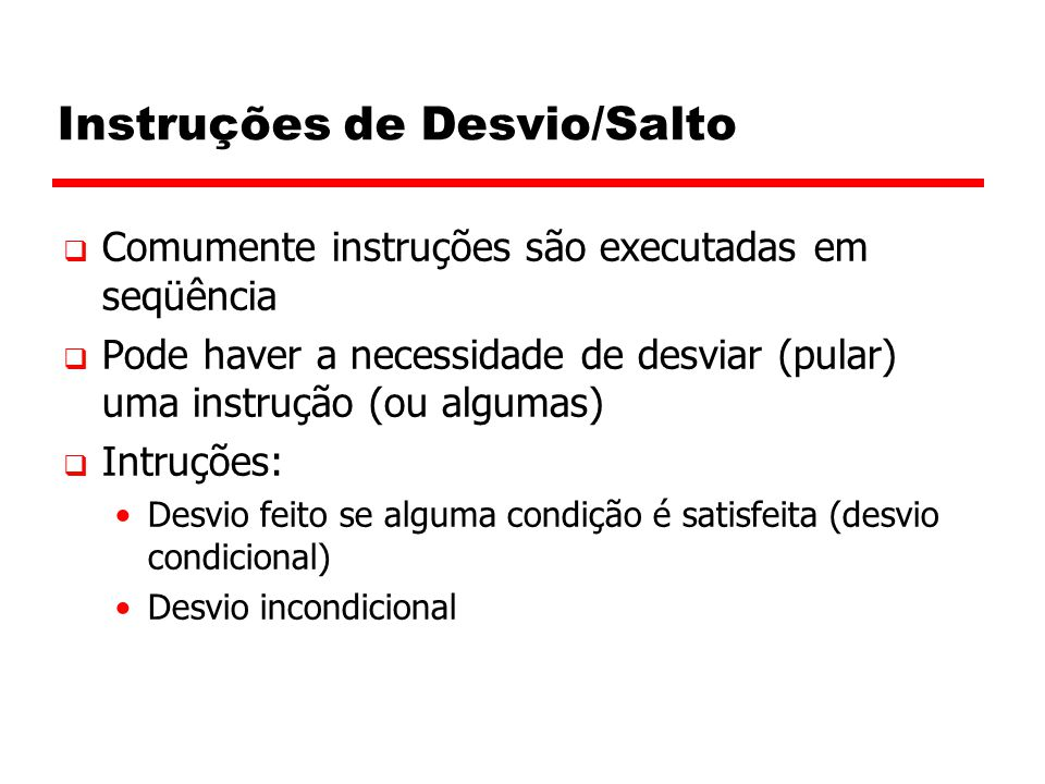 Instruções de Desvio/Salto
