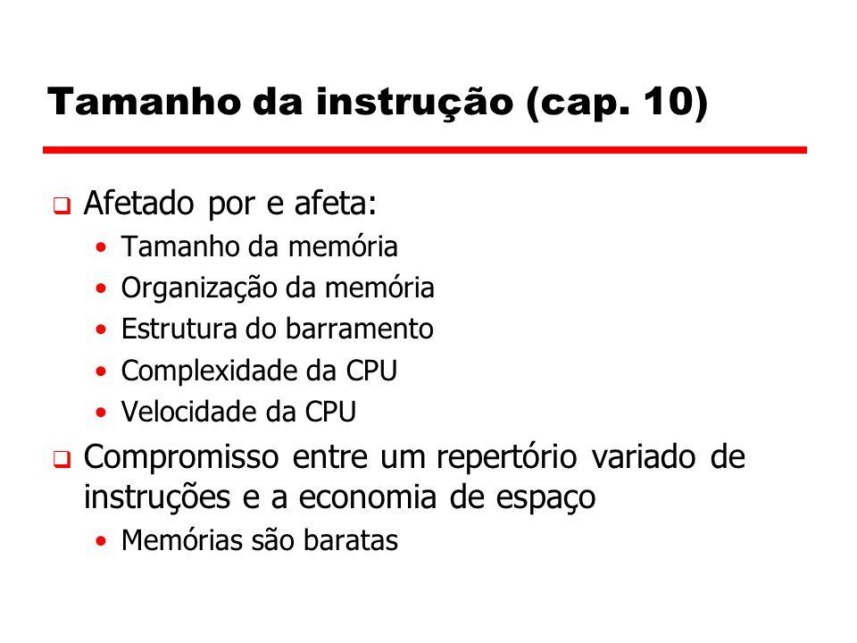 Tamanho da instrução (cap. 10)