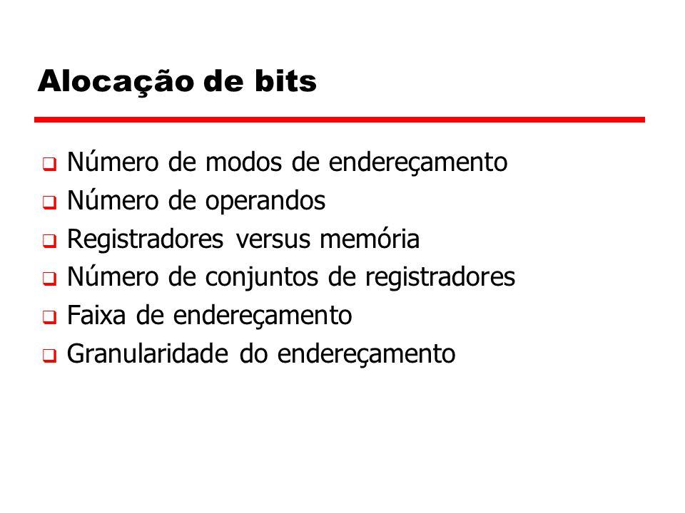 Alocação de bits Número de modos de endereçamento Número de operandos