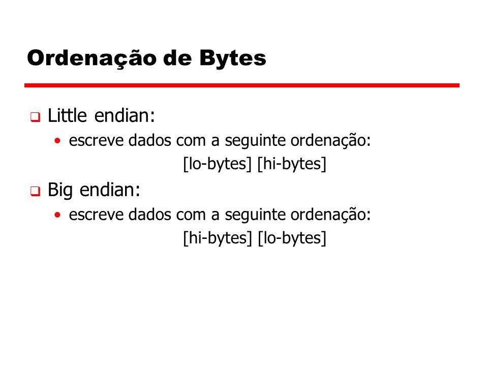 Ordenação de Bytes Little endian: Big endian: