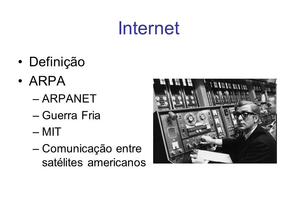 Internet Definição ARPA ARPANET Guerra Fria MIT