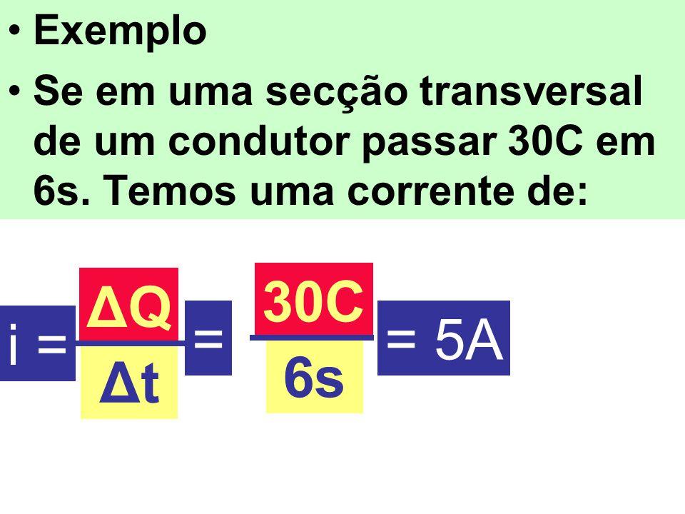 Exemplo Se em uma secção transversal de um condutor passar 30C em 6s. Temos uma corrente de: 30C. ΔQ.