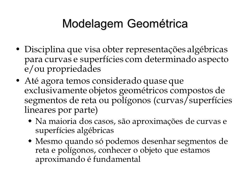 Modelagem Geométrica Disciplina que visa obter representações algébricas para curvas e superfícies com determinado aspecto e/ou propriedades.