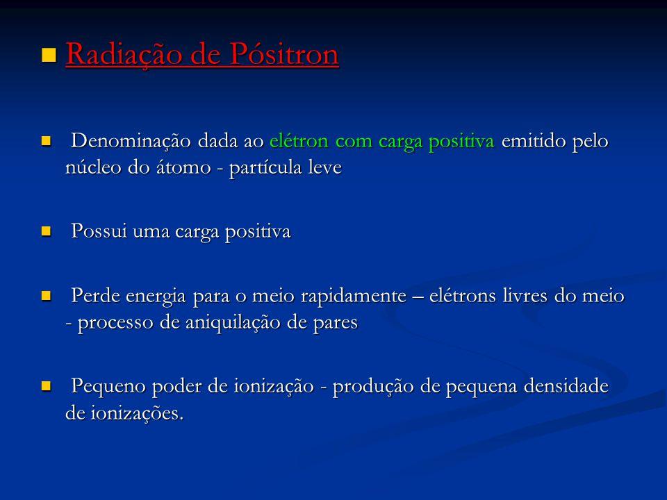 Radiação de Pósitron Denominação dada ao elétron com carga positiva emitido pelo núcleo do átomo - partícula leve.