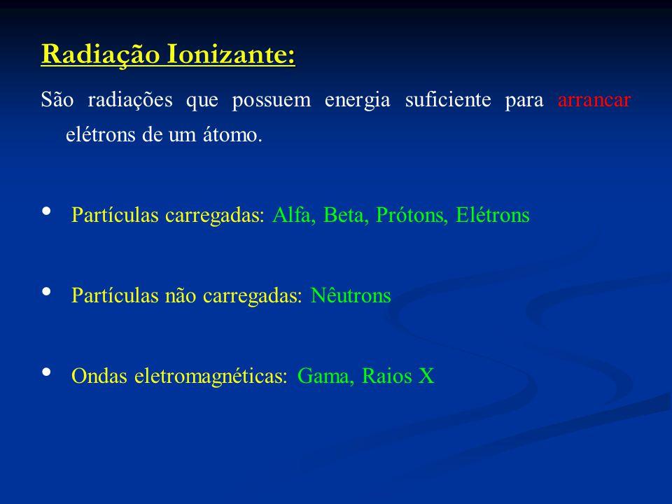 Radiação Ionizante: São radiações que possuem energia suficiente para arrancar elétrons de um átomo.