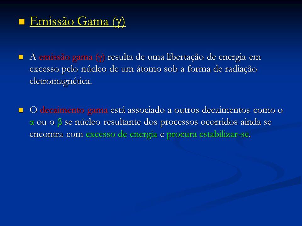 Emissão Gama () A emissão gama (γ) resulta de uma libertação de energia em excesso pelo núcleo de um átomo sob a forma de radiação eletromagnética.