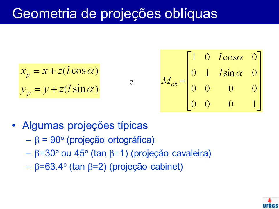 Geometria de projeções oblíquas