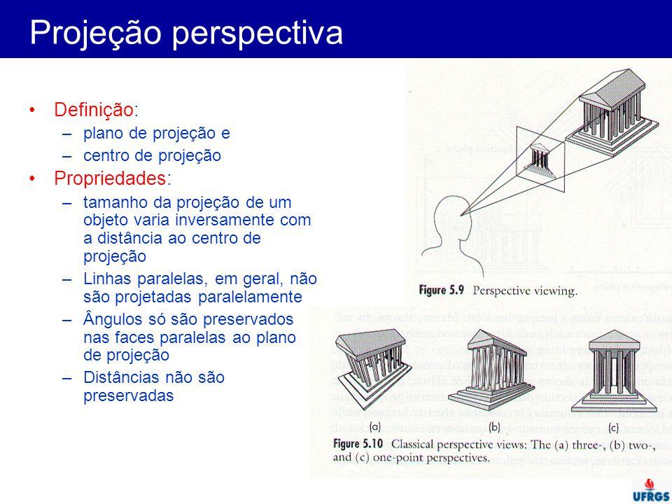 Projeção perspectiva Definição: Propriedades: plano de projeção e