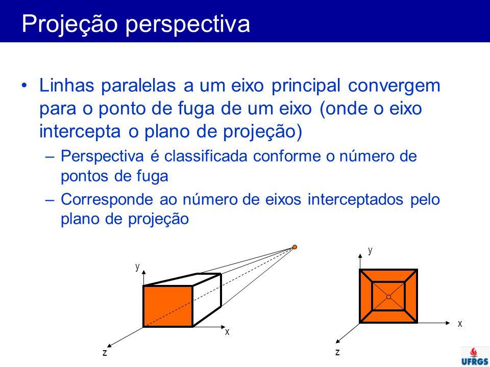Projeção perspectiva Linhas paralelas a um eixo principal convergem para o ponto de fuga de um eixo (onde o eixo intercepta o plano de projeção)