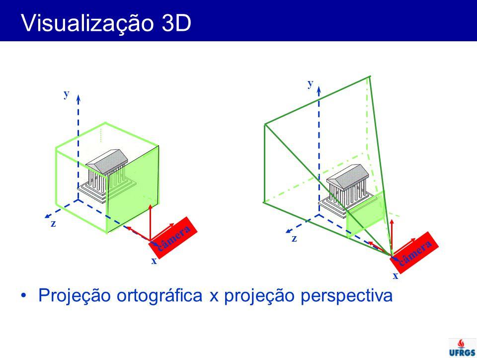 Visualização 3D Projeção ortográfica x projeção perspectiva y y z