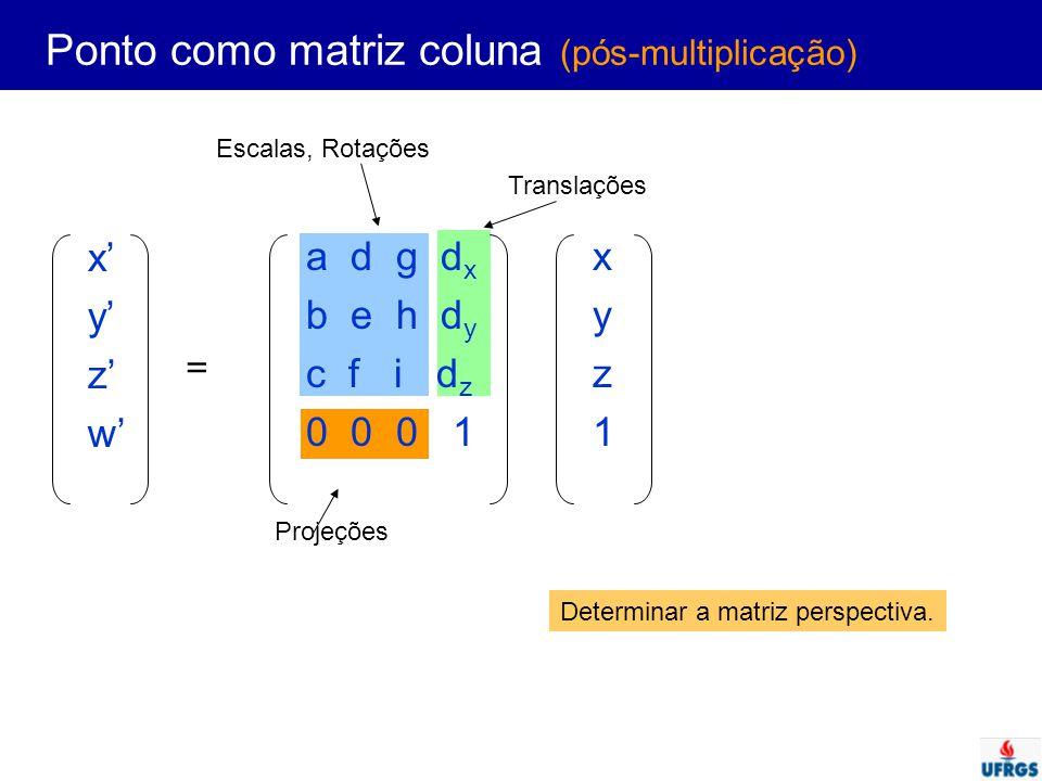 Ponto como matriz coluna (pós-multiplicação)