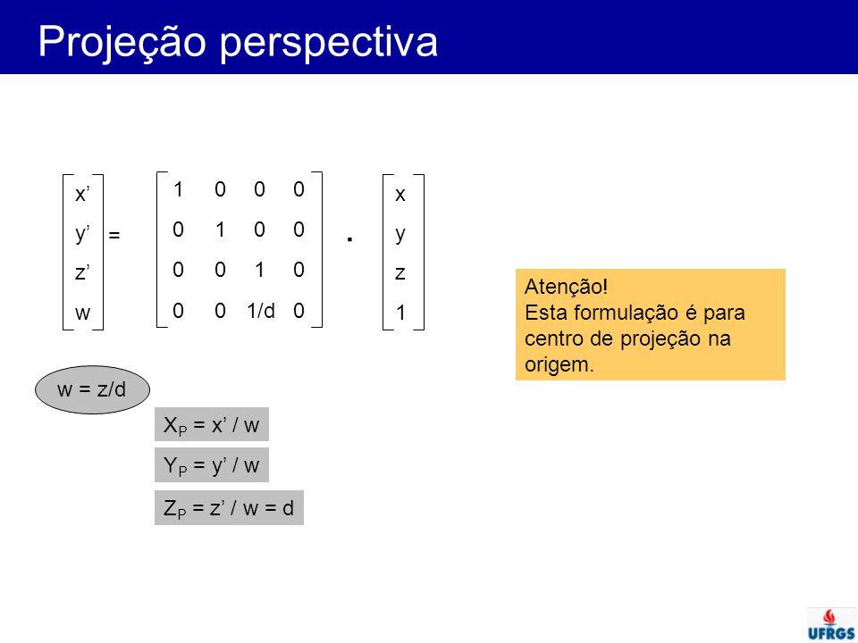 Projeção perspectiva . x' y' z' w 1 1/d x y z 1 = Atenção!