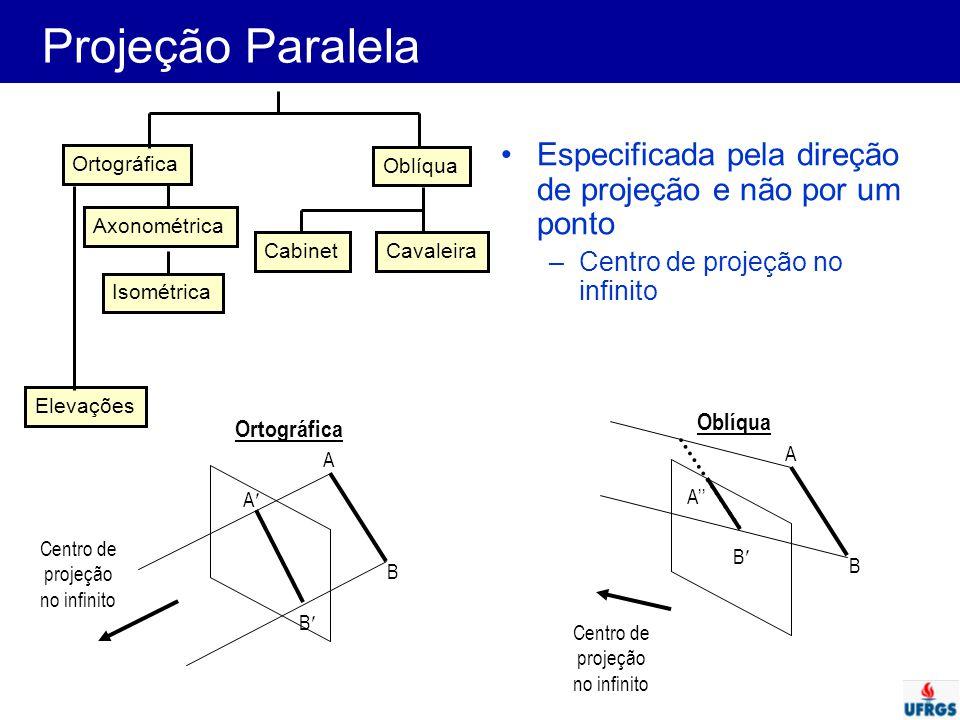 Projeção Paralela Ortográfica. Oblíqua. Axonométrica. Isométrica. Cavaleira. Cabinet. Elevações.