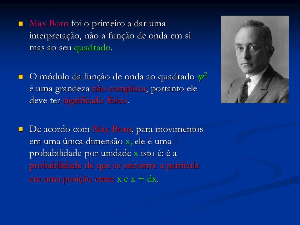 Max Born foi o primeiro a dar uma interpretação, não a função de onda em si mas ao seu quadrado.