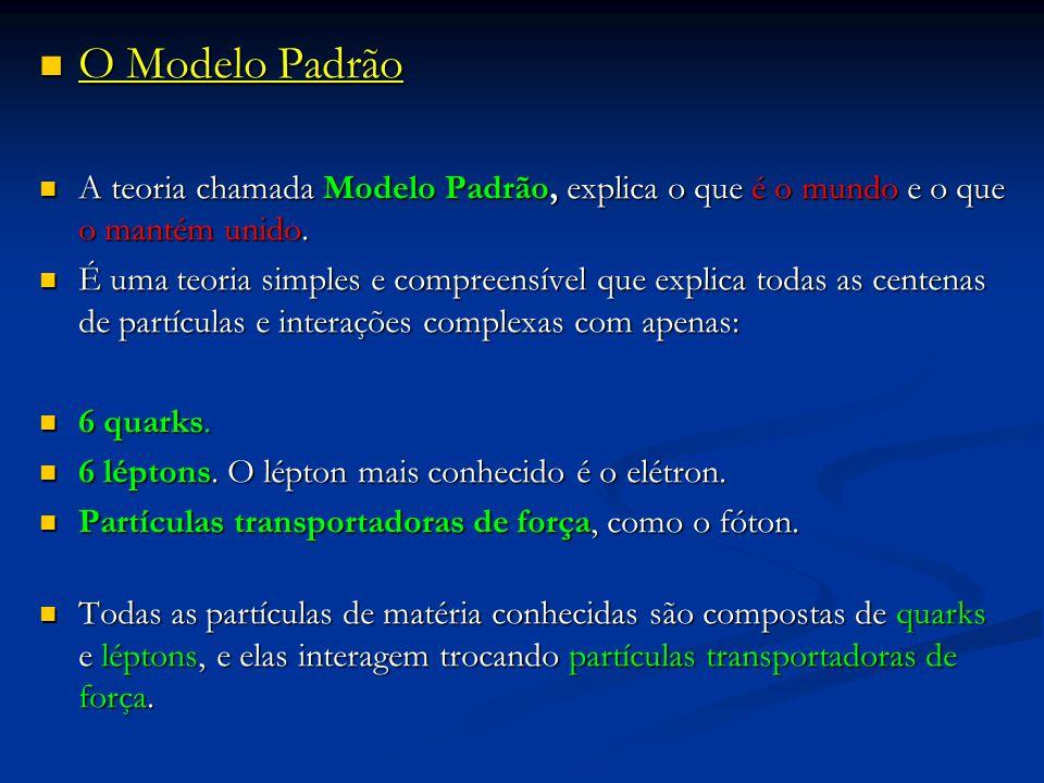 O Modelo Padrão A teoria chamada Modelo Padrão, explica o que é o mundo e o que o mantém unido.