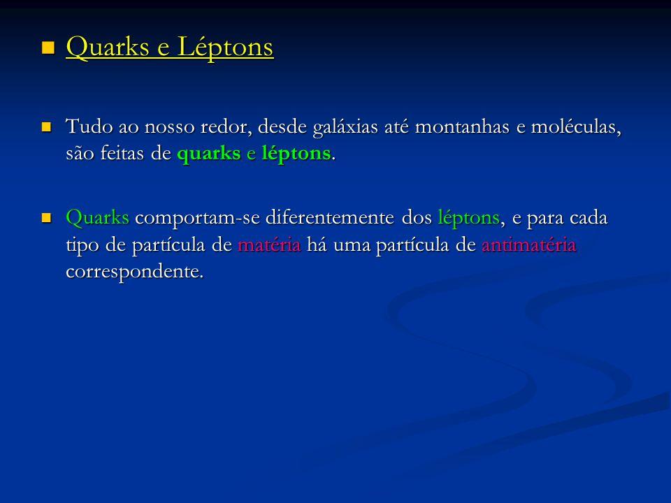 Quarks e Léptons Tudo ao nosso redor, desde galáxias até montanhas e moléculas, são feitas de quarks e léptons.