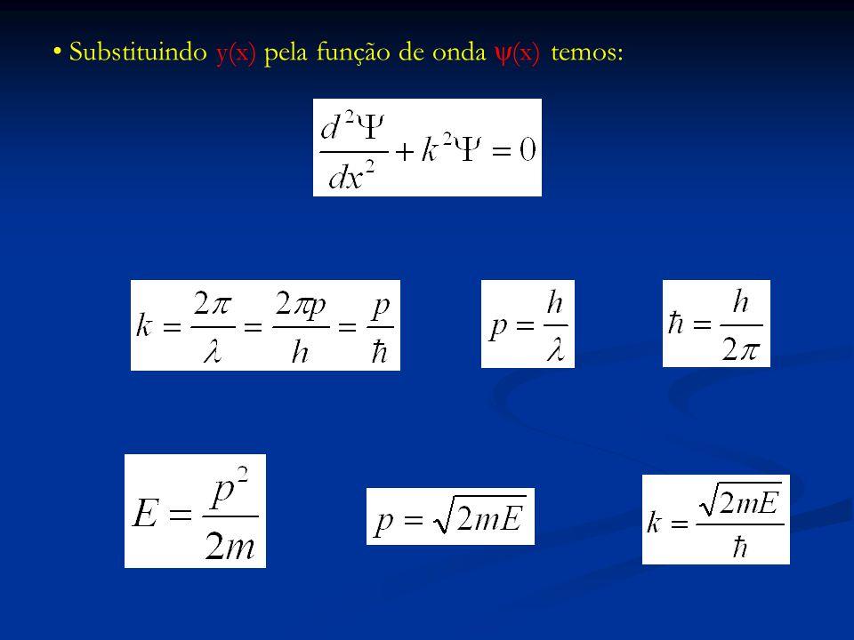 Substituindo y(x) pela função de onda y(x) temos: