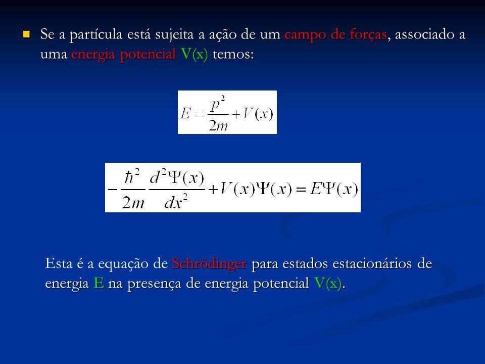 Se a partícula está sujeita a ação de um campo de forças, associado a uma energia potencial V(x) temos: