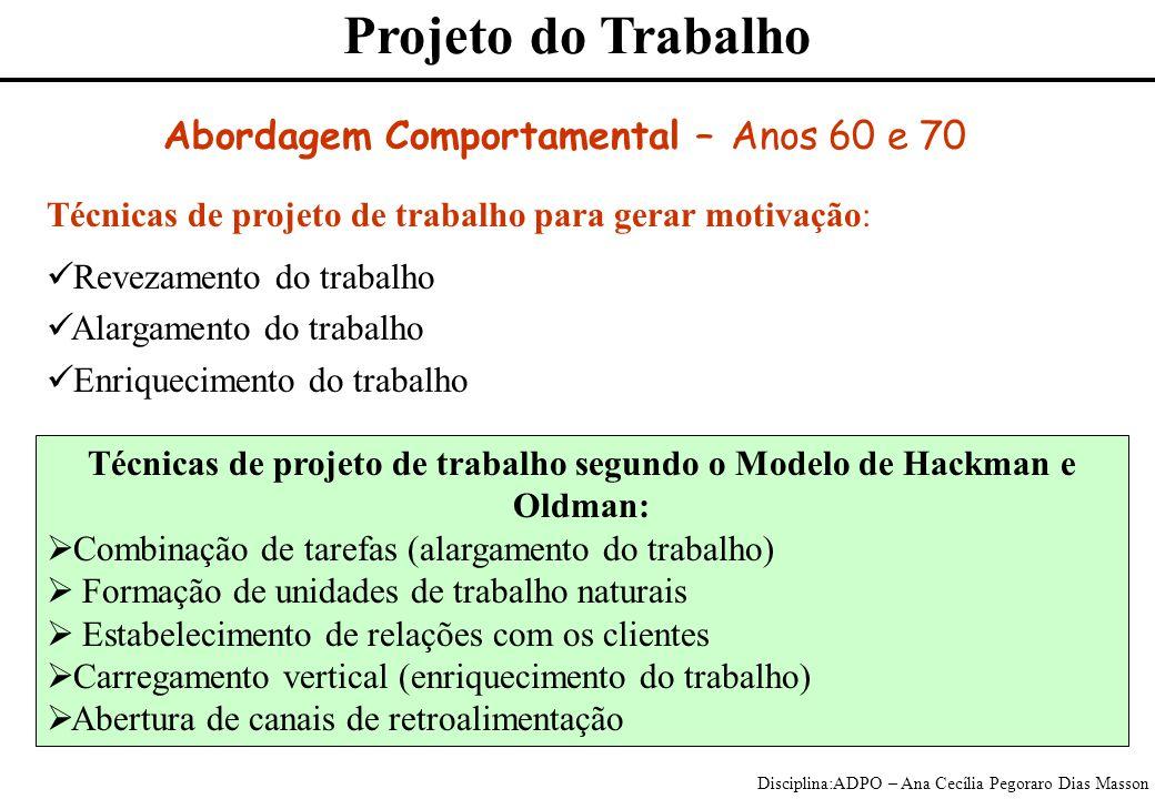 Técnicas de projeto de trabalho segundo o Modelo de Hackman e Oldman: