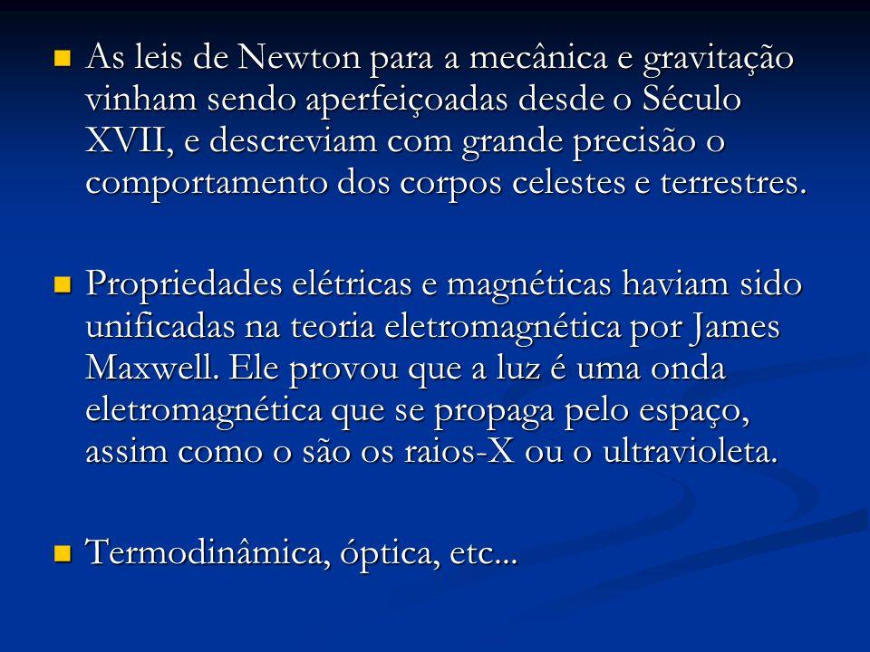As leis de Newton para a mecânica e gravitação vinham sendo aperfeiçoadas desde o Século XVII, e descreviam com grande precisão o comportamento dos corpos celestes e terrestres.