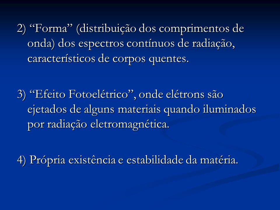 2) Forma (distribuição dos comprimentos de onda) dos espectros contínuos de radiação, característicos de corpos quentes.