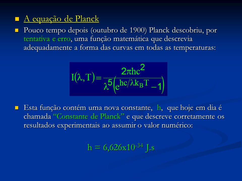 A equação de Planck h = 6,626x10-34 J.s