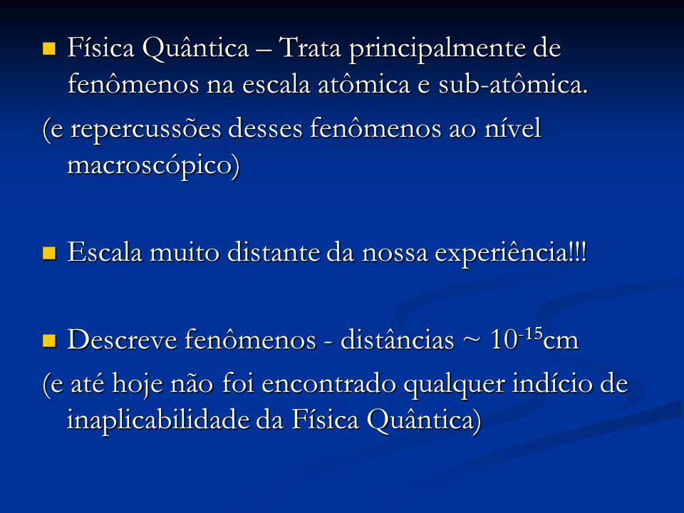 Física Quântica – Trata principalmente de fenômenos na escala atômica e sub-atômica.