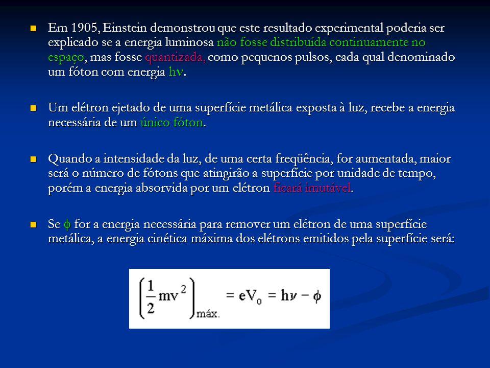 Em 1905, Einstein demonstrou que este resultado experimental poderia ser explicado se a energia luminosa não fosse distribuída continuamente no espaço, mas fosse quantizada, como pequenos pulsos, cada qual denominado um fóton com energia hn.