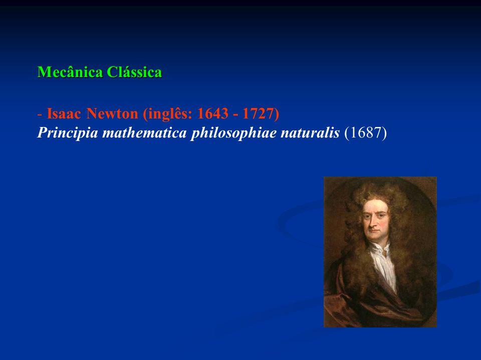 Mecânica Clássica Isaac Newton (inglês: 1643 - 1727) Principia mathematica philosophiae naturalis (1687)