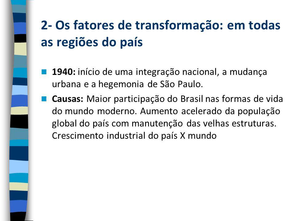 2- Os fatores de transformação: em todas as regiões do país