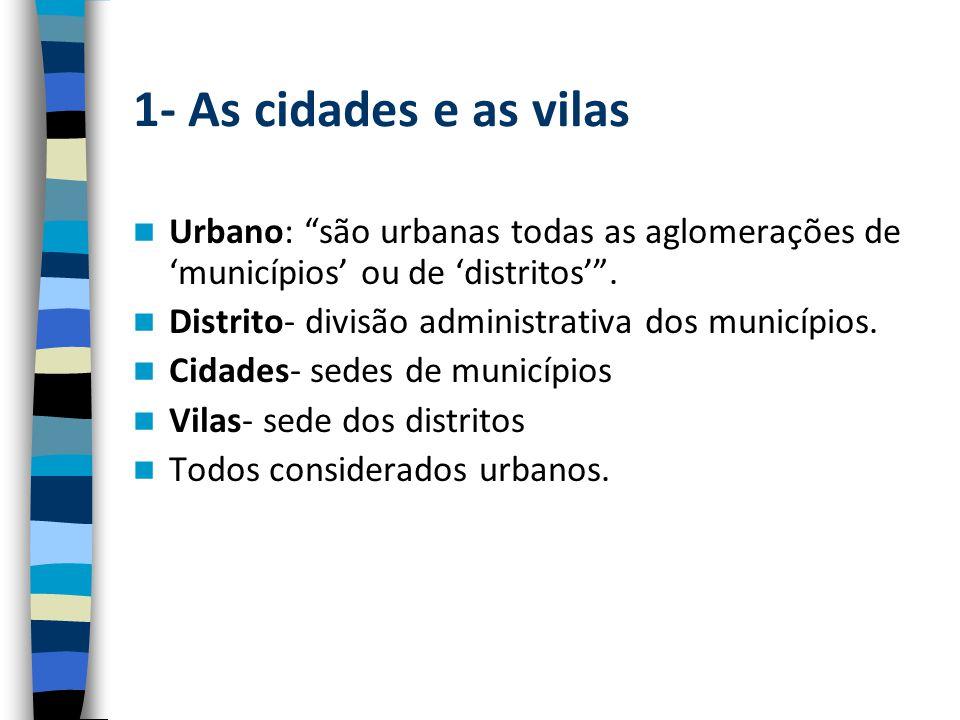 1- As cidades e as vilas Urbano: são urbanas todas as aglomerações de 'municípios' ou de 'distritos' .