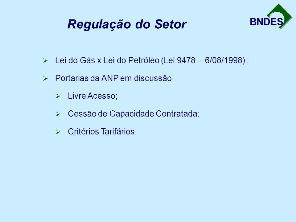 Regulação do Setor Lei do Gás x Lei do Petróleo (Lei 9478 - 6/08/1998) ; Portarias da ANP em discussão.