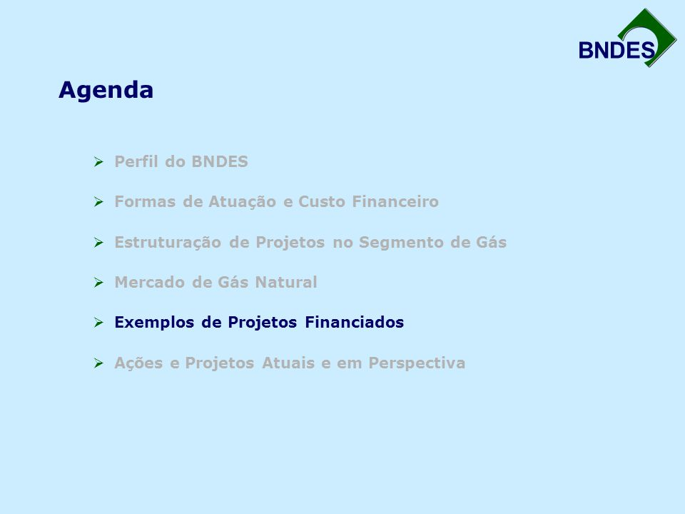 Agenda Perfil do BNDES Formas de Atuação e Custo Financeiro