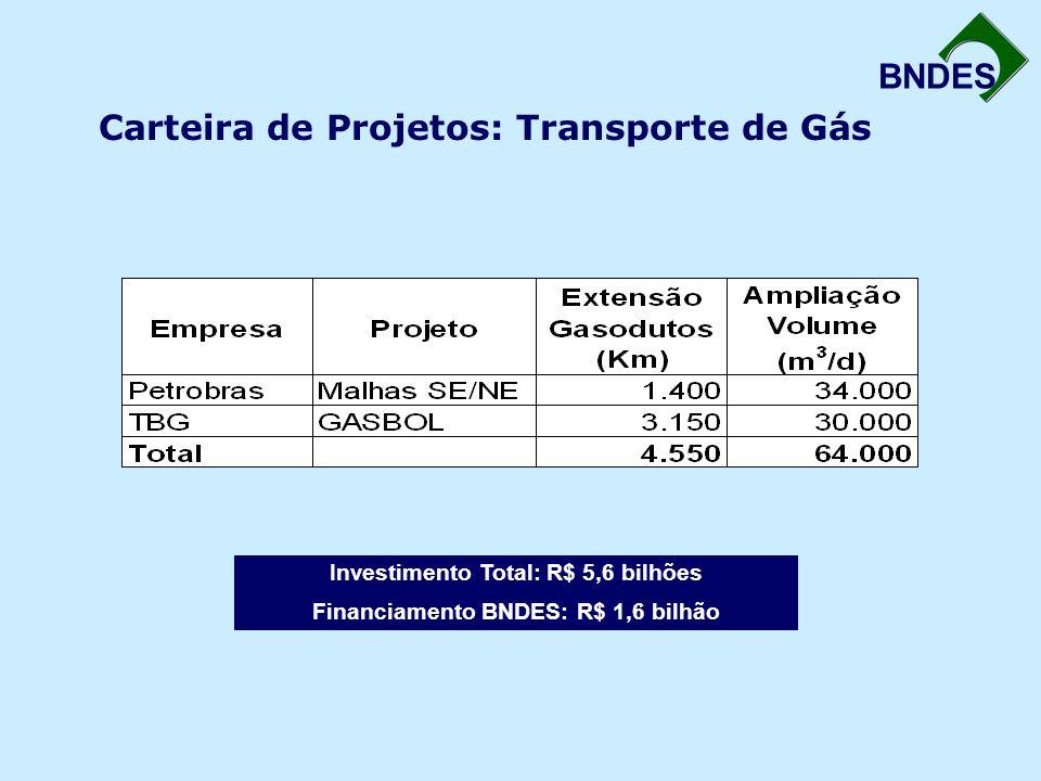 Carteira de Projetos: Transporte de Gás
